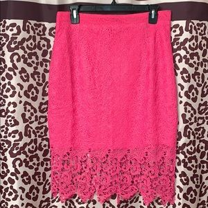 Hot pink lined lace skirt